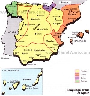 Language areas of Spain map