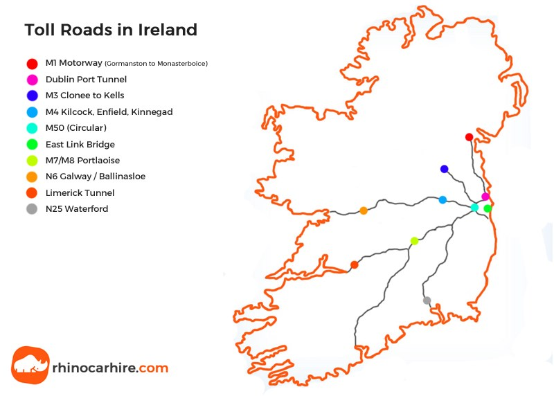 Map Of Ireland With Roads.Irish Toll Roads A Guide To Toll Roads In Ireland