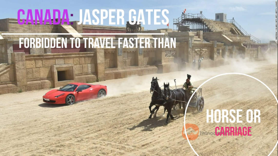 Illegal for car to travel faster then horse or carriage in Canada - Jasper Gates