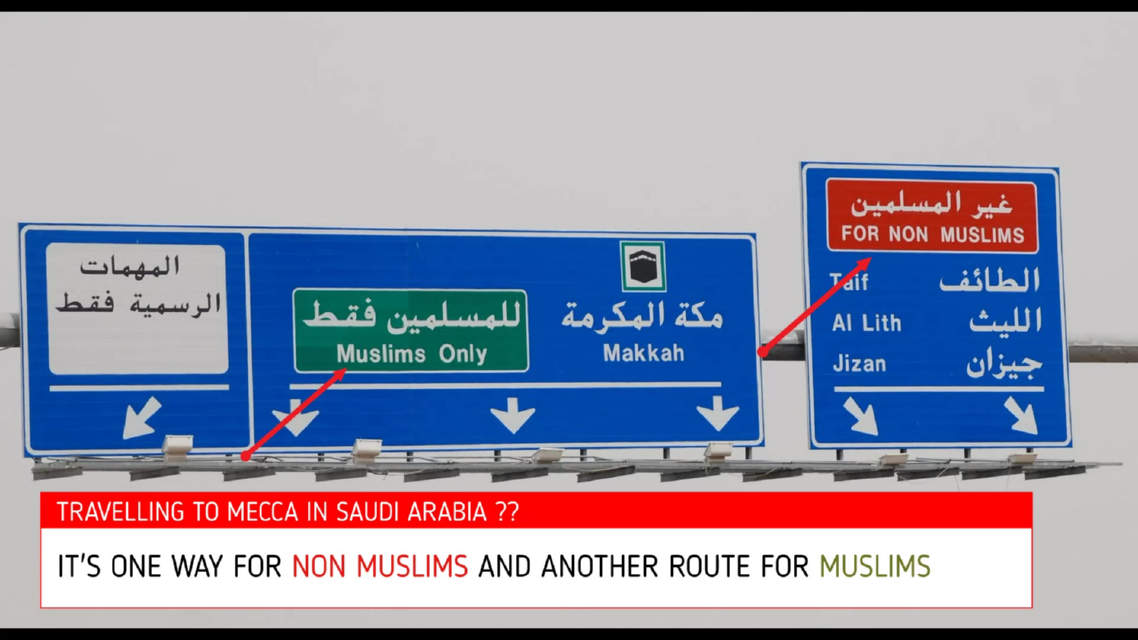 Saudi Arabia driving to Mecca, one way for muslims and another way for non-muslims