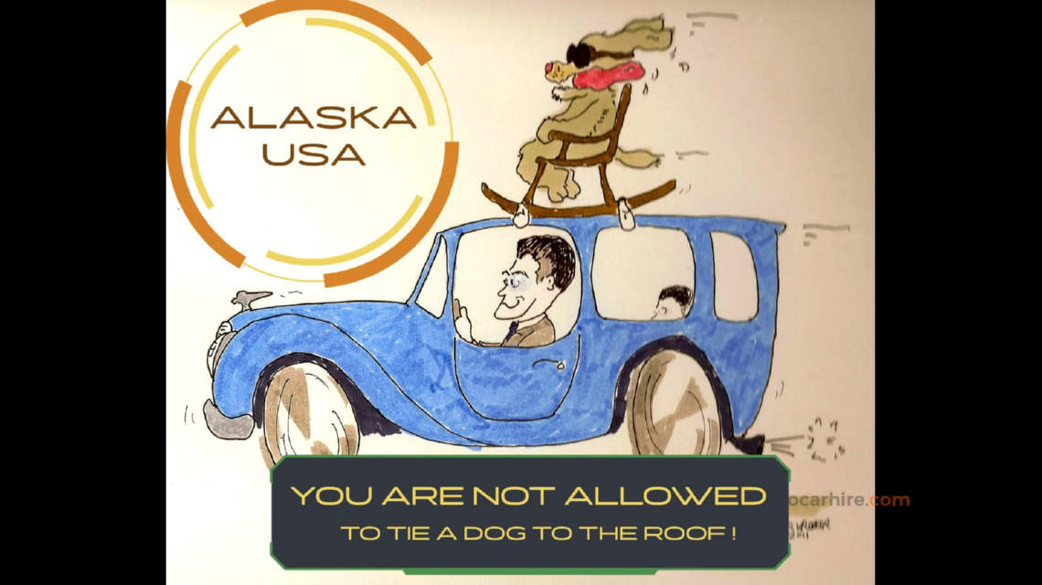 Illegal to tie a dog to the roof of a car in Alaska