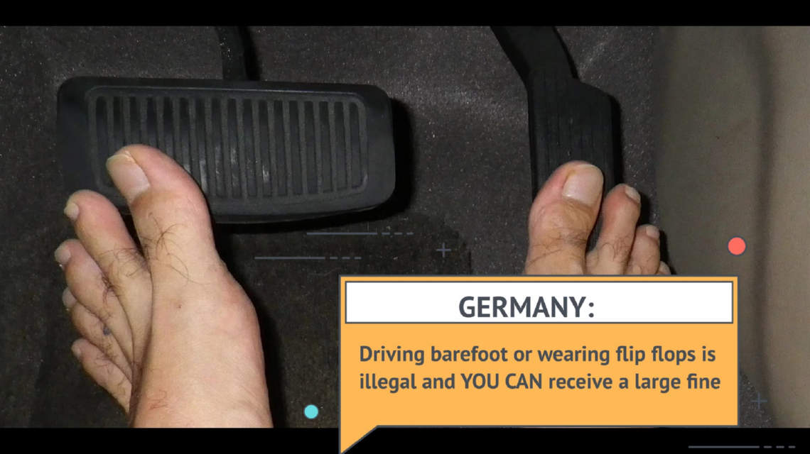 Driving barefoot in Germany is illegal