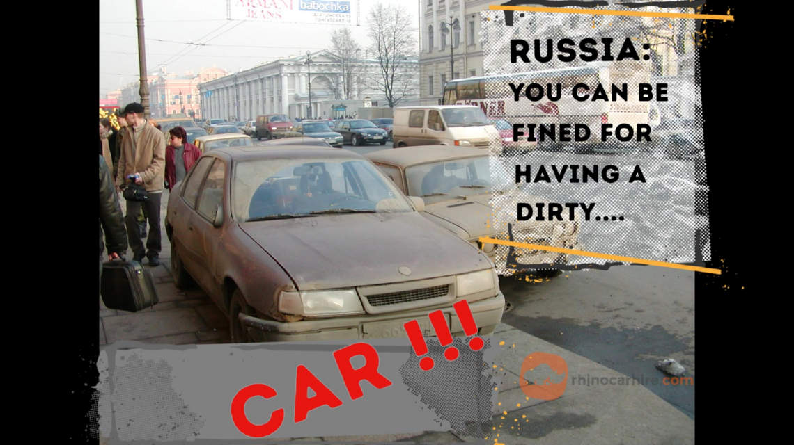 Dirty car in moscow is illegal