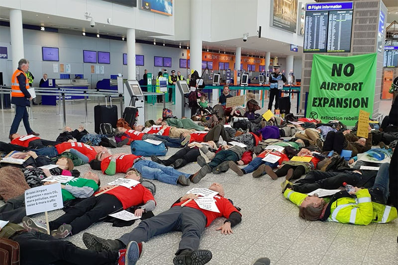 Bristol Airport expansion protests 2020