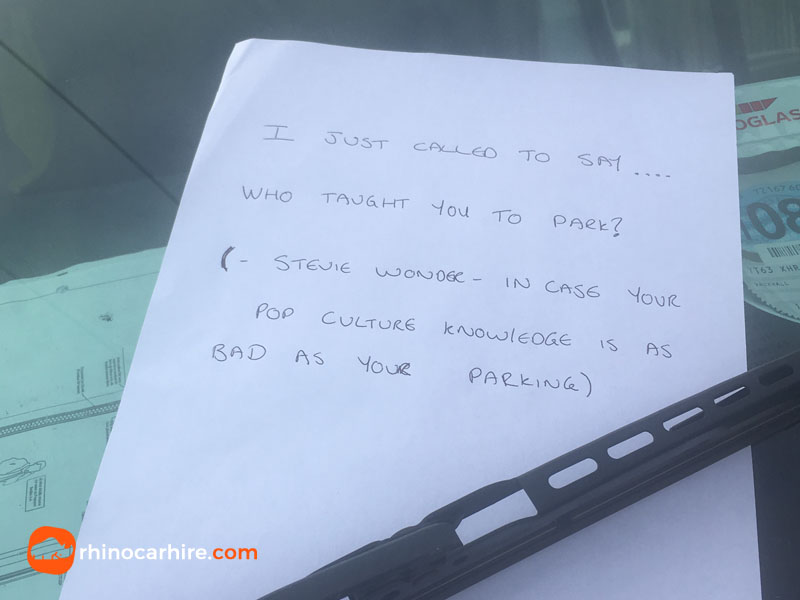 funny parking note blind