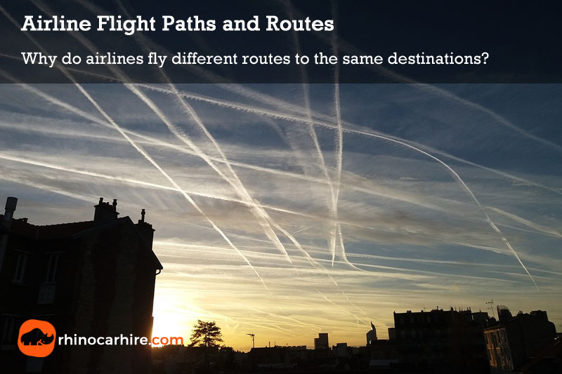 different airline flight paths routes