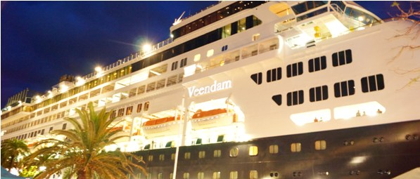 MS Veendam at night in Bermuda