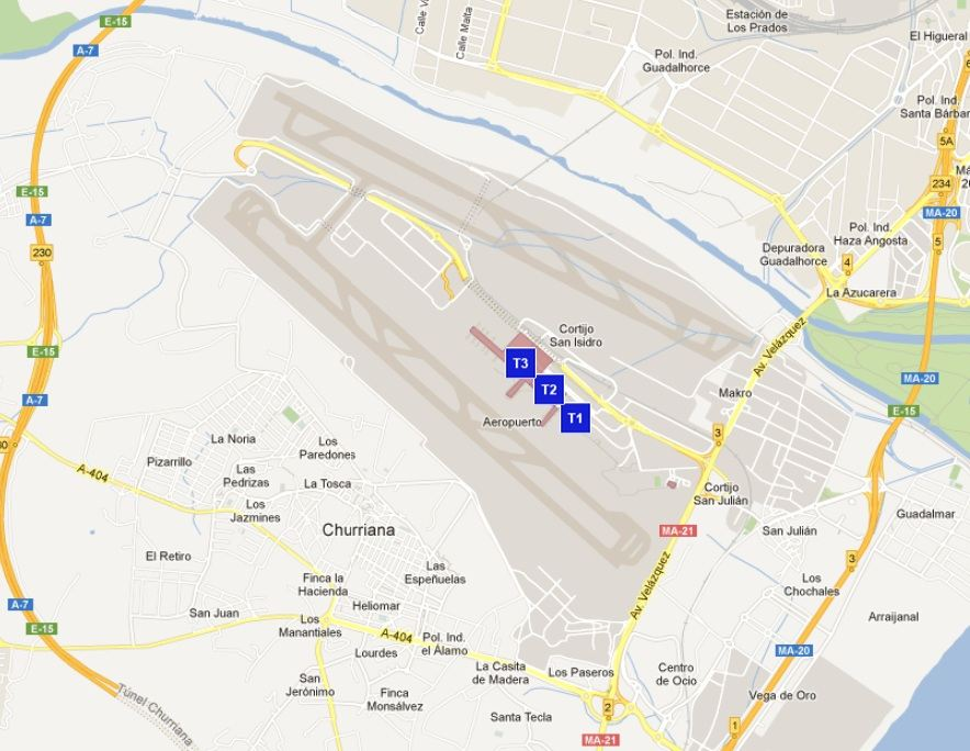 Malaga Spain Airport Map Malaga Airport Map