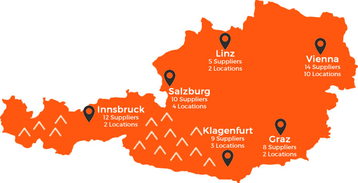 Car hire is available from 39 pickup locations in Austria