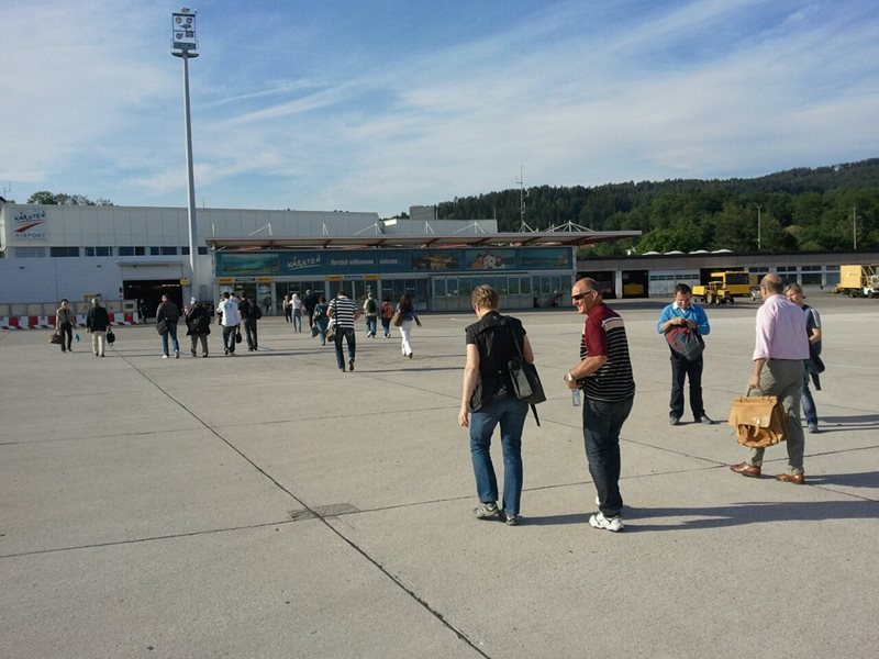 Walk to the terminal at Klagenfurt Airport