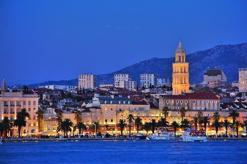 view of split at night