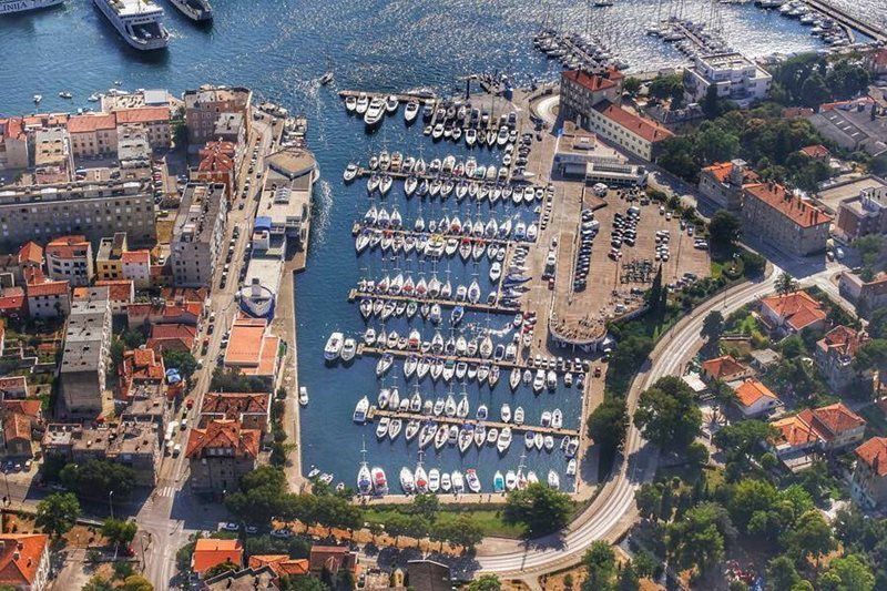 aerial view of zadar marina