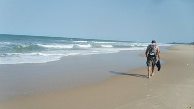 Walking on the Beach in the Gambia