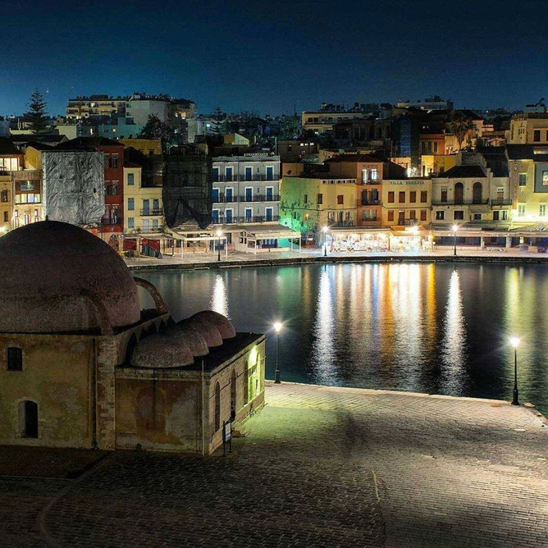 chania crete at night