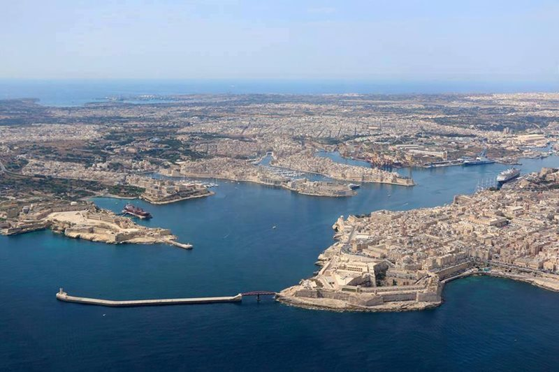 aerial view of grand harbour malta