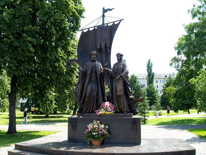Samara Airport monument of st Peter and sta