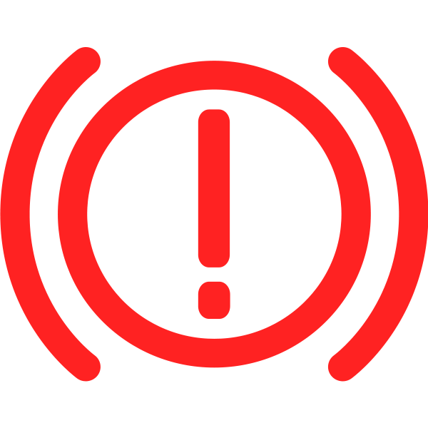 Brake warning symbol in red