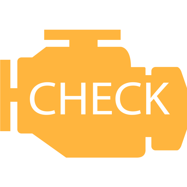 Engine check symbol in orange