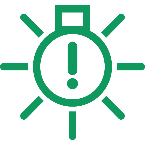 Interior light warning in green