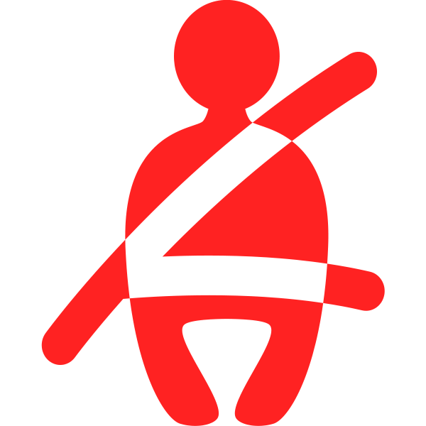 Seatbelt symbol in red