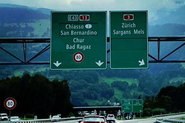 Switzerland-Zurich-Motorway-Sign