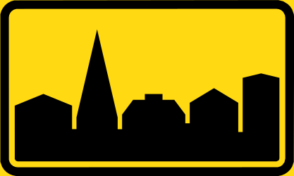 Begin of a built-up area - Road Sign