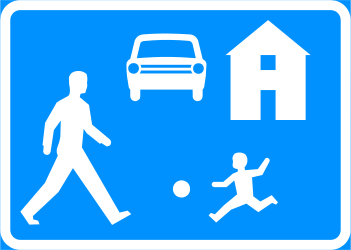 Begin of a residential area - Road Sign