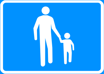 Begin of a zone for pedestrians - Road Sign