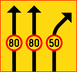 Maximum speed of a lane - Road Sign