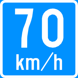 Recommended speed - Road Sign