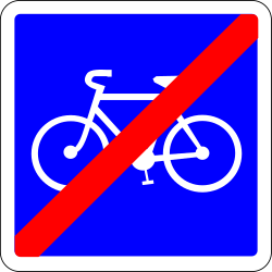 End of the lane for cyclists - Road Sign