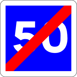 End of the recommended speed - Road Sign