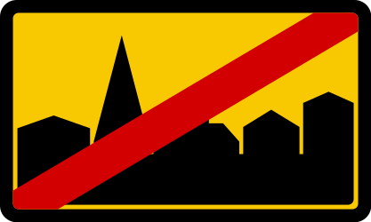 End of the built-up area - Road Sign