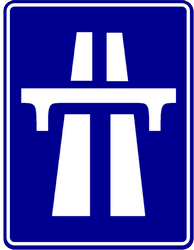Motorway begins - Road Sign