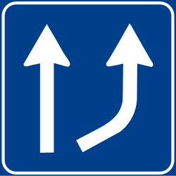 Begin of a new lane - Road Sign