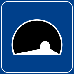 Begin of a tunnel - Road Sign