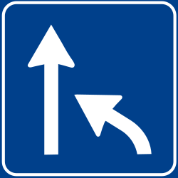 End of a lane - Road Sign
