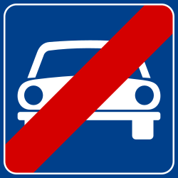 End of the expressway - Road Sign