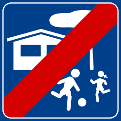 End of the residential area - Road Sign