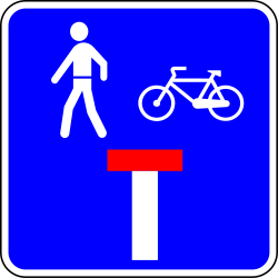Dead end street with a passage for pedestrians and cyclists - Road Sign