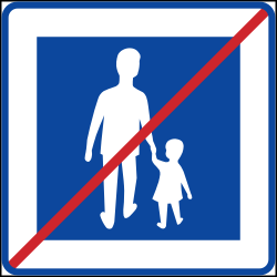 End of the zone for pedestrians - Road Sign