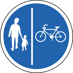 Path for cyclists and pedestrians divided is compulsory - Road Sign