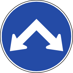 Passing left or right mandatory - Road Sign