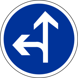 Driving straight ahead or turning left mandatory - Road Sign