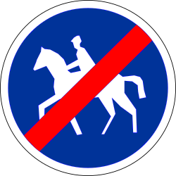 End of the path for equestrians - Road Sign