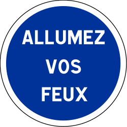 Mandatory lights on - Road Sign