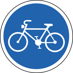 Cyclist must use mandatory path - Road Sign