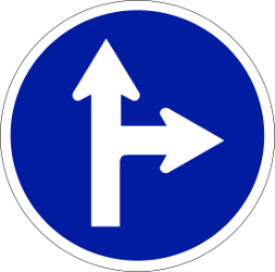 Driving straight ahead or turning right mandatory - Road Sign
