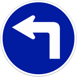 Left turn mandatory - Road Sign