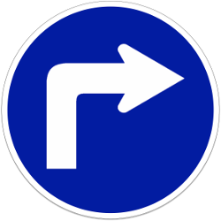 Turning right compulsory - Road Sign